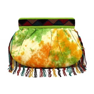 Tie Dye Cotton Clutch with Fringe