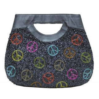 Tote with Beaded Peace Signs