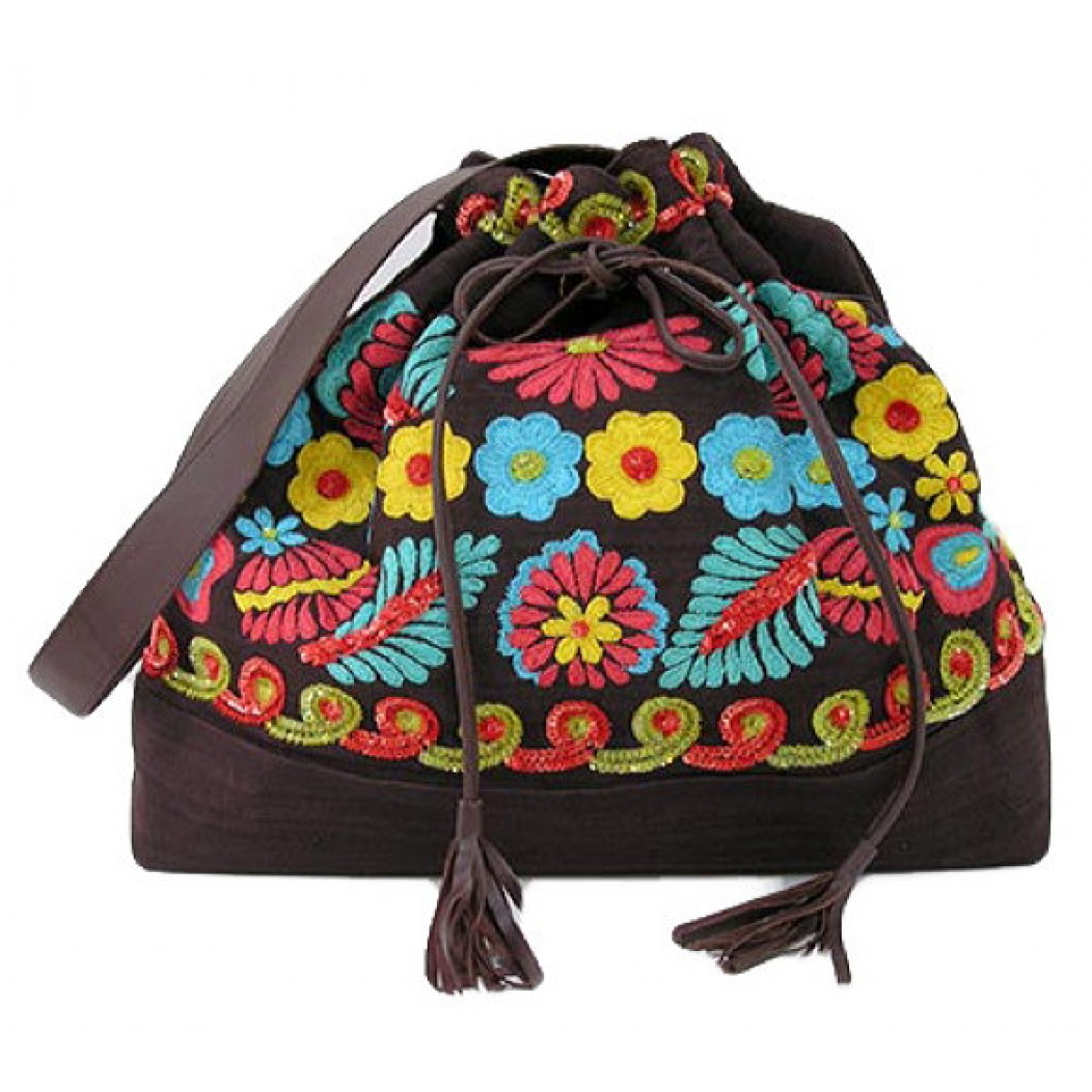 Tote with Embroidered Flowers