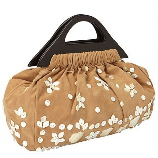 Ultra Suede Bag with Mother of Pearl Embellishments