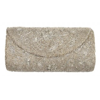 Women Evening Beaded Silver Bag