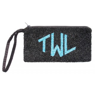 Wrist Cosmetic Pouch with Diamond Monogram