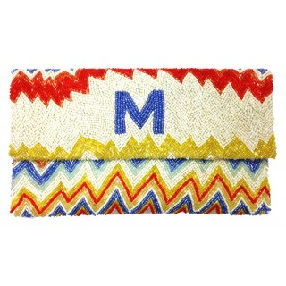 Zig Zag Pattern Beaded Alphabet Envelope Clutch